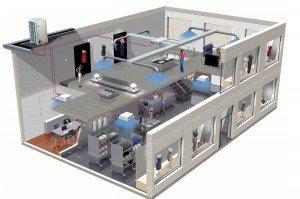 Монтаж вентиляции торговых и офисных помещений